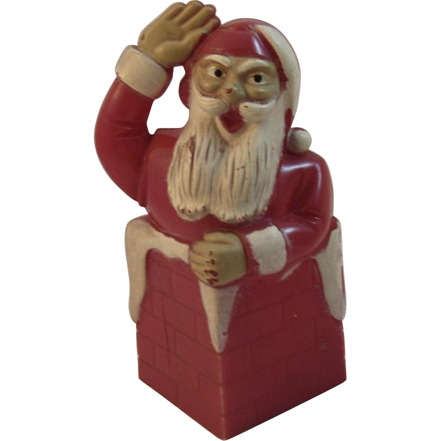 Vintage Santa in Chimney Hard Plastic Candy Container