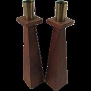 Mid Century Modern Walnut & Brass Candlesticks by Kustom Kraft