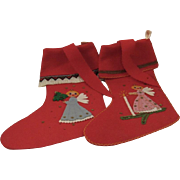 Pair of Vintage Austrian Wool Appliqué Christmas Stockings