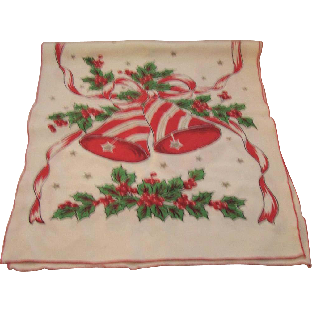 Vintage Christmas Table Runner Holly Bells From