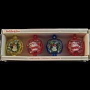 Vintage Jewel Brite Diorama 3D Christmas Ornaments in Original Box