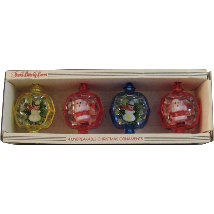 Vintage Jewel Brite Diorama 3D Christmas Ornaments in Original Box