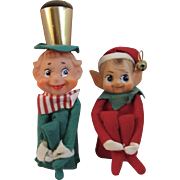 2 Vintage Large Knee Hugger Elves Elf Pixies Japan