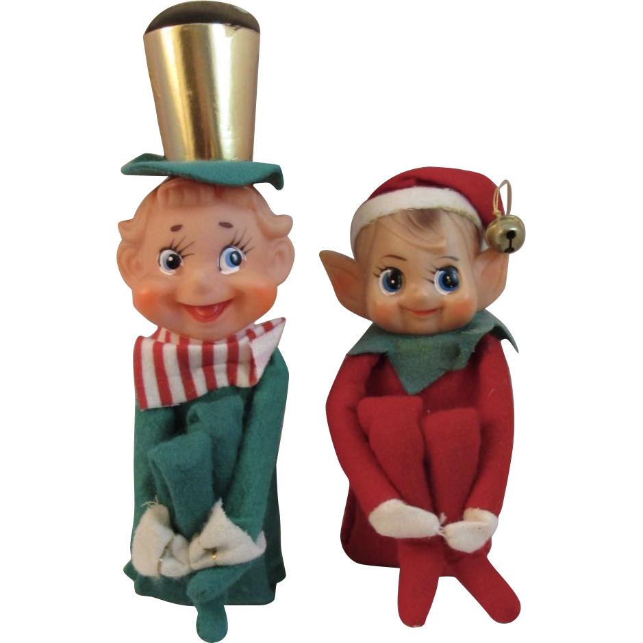 2 Vintage Large Knee Hugger Elves Elf Pixies Japan Sold On