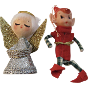 2 Vintage Christmas Ornaments - Angel and Pixie Elf