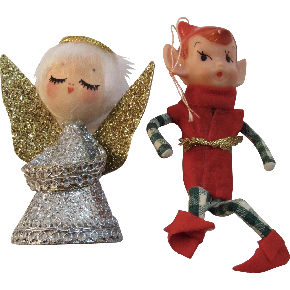 2 Vintage Christmas Ornaments Angel And Pixie Elf Sold
