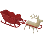 Vintage Irwin Hard Plastic Santa Sleigh with Reindeer - Red Tag Sale Item