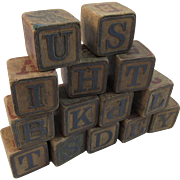 Victorian Child's Alphabet Wood Blocks
