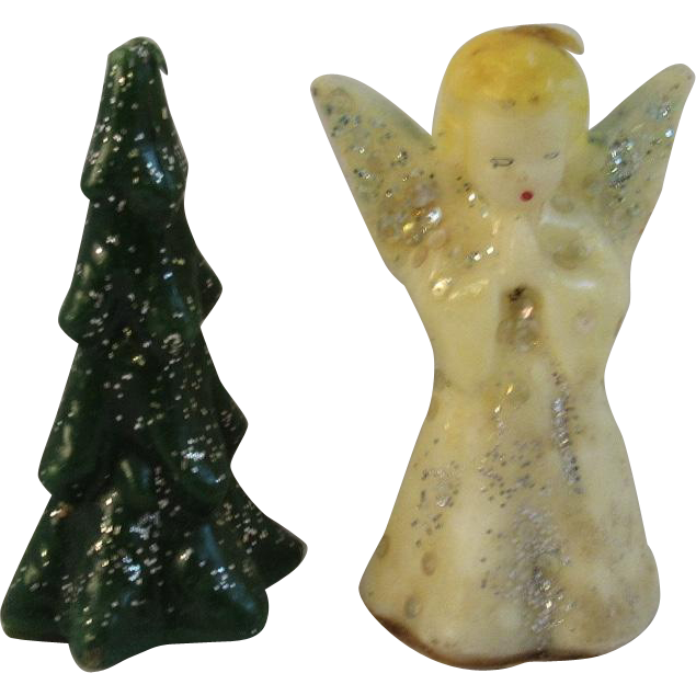 2 Vintage Gurley Christmas Candles Angel and Tree
