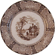 Clementson Brothers Brown Transferware Plate