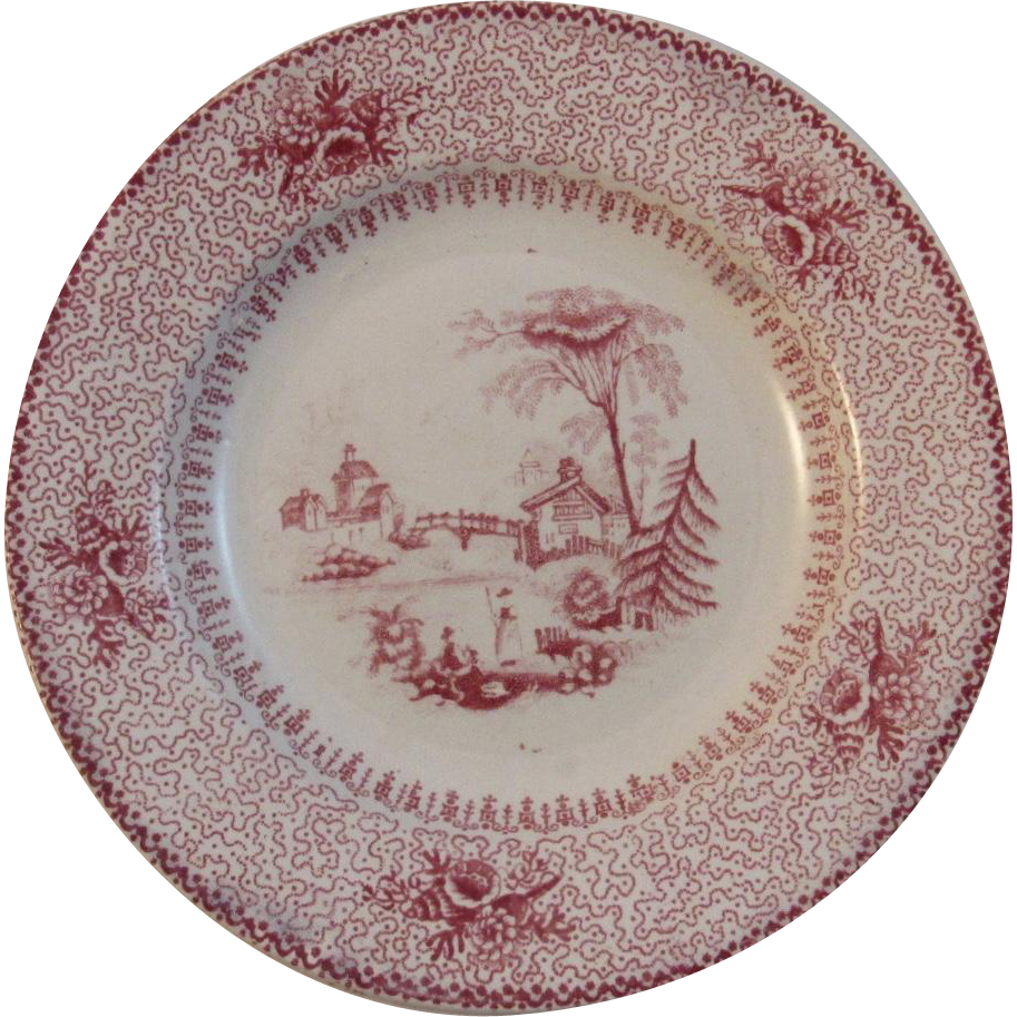 Small Red English Transferware Plate