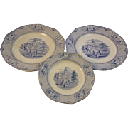 3 Blue Transferware Plates in the University Pattern by Ridgway Staffordshire