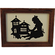Vintage Silhouette Paper Cutting Girl with Doll and Dollhouse