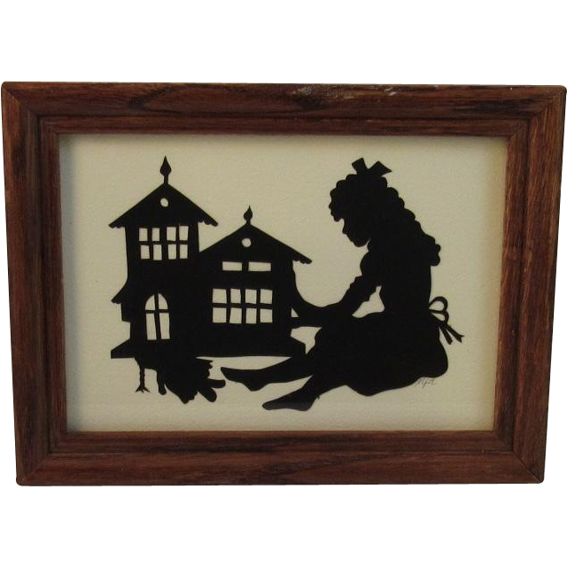 Silhouette Paper Cutting Girl with Doll and Dollhouse