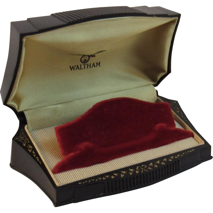 Art Deco Black and Gold Waltham Watch Presentation Box
