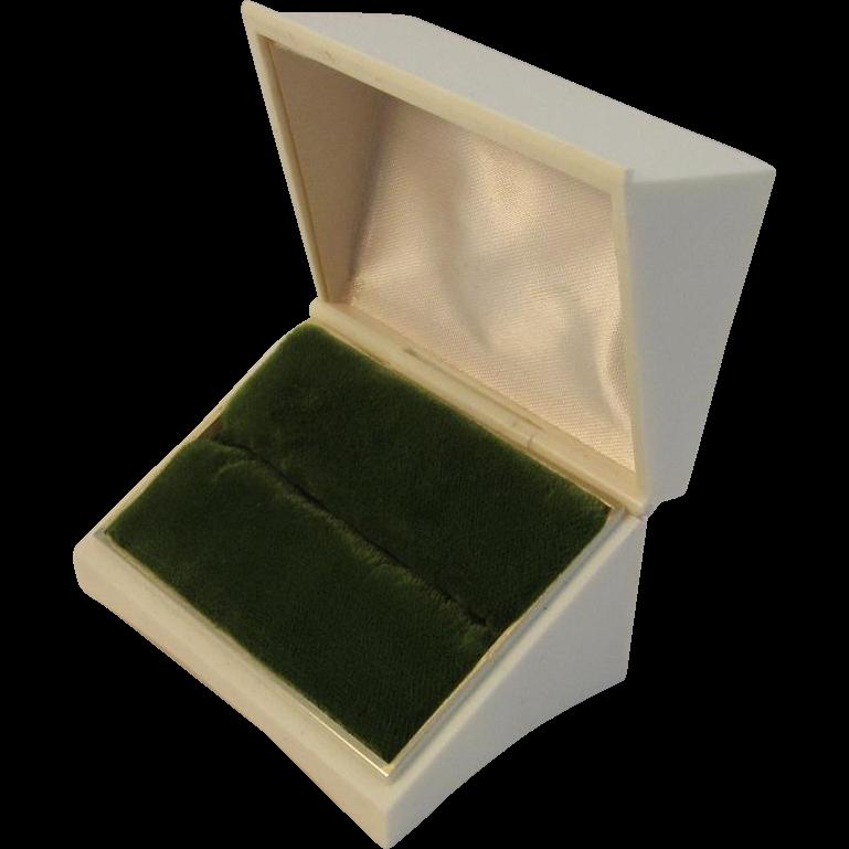 Vintage Velvet Lined Jewelry Ring Presentation Box