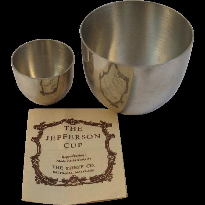 2 Stieff Pewter Jefferson Cups