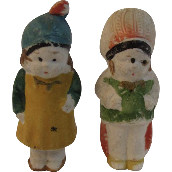 Miniature Bisque Japan Indian and Squaw Dolls