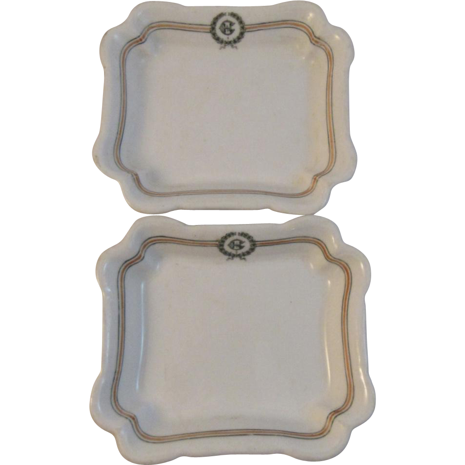 Pair of John Wanamaker China Soap Dishes