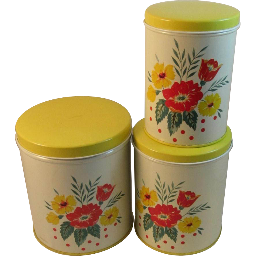 Vintage tin canister set red and yellow poppies from for Kitchen set items