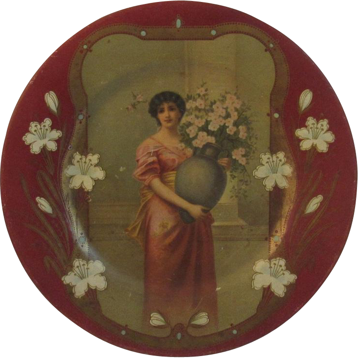 Vienna Art Tin Litho Asti Lady Plate
