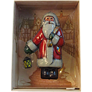 Vintage Hallmark St. Nicholas Ornament Pressed Tin Santa with Lantern