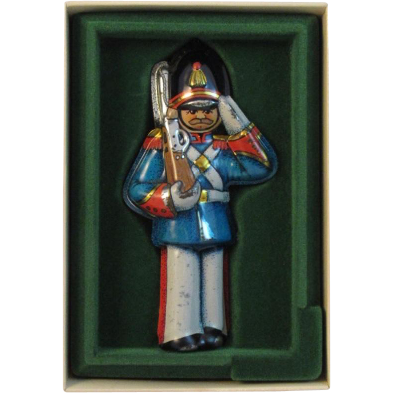 Vintage Hallmark Tin Soldier Christmas Ornament Pressed Tin