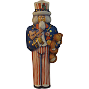 Vintage Hallmark Uncle Sam Pressed Tin Christmas Ornament