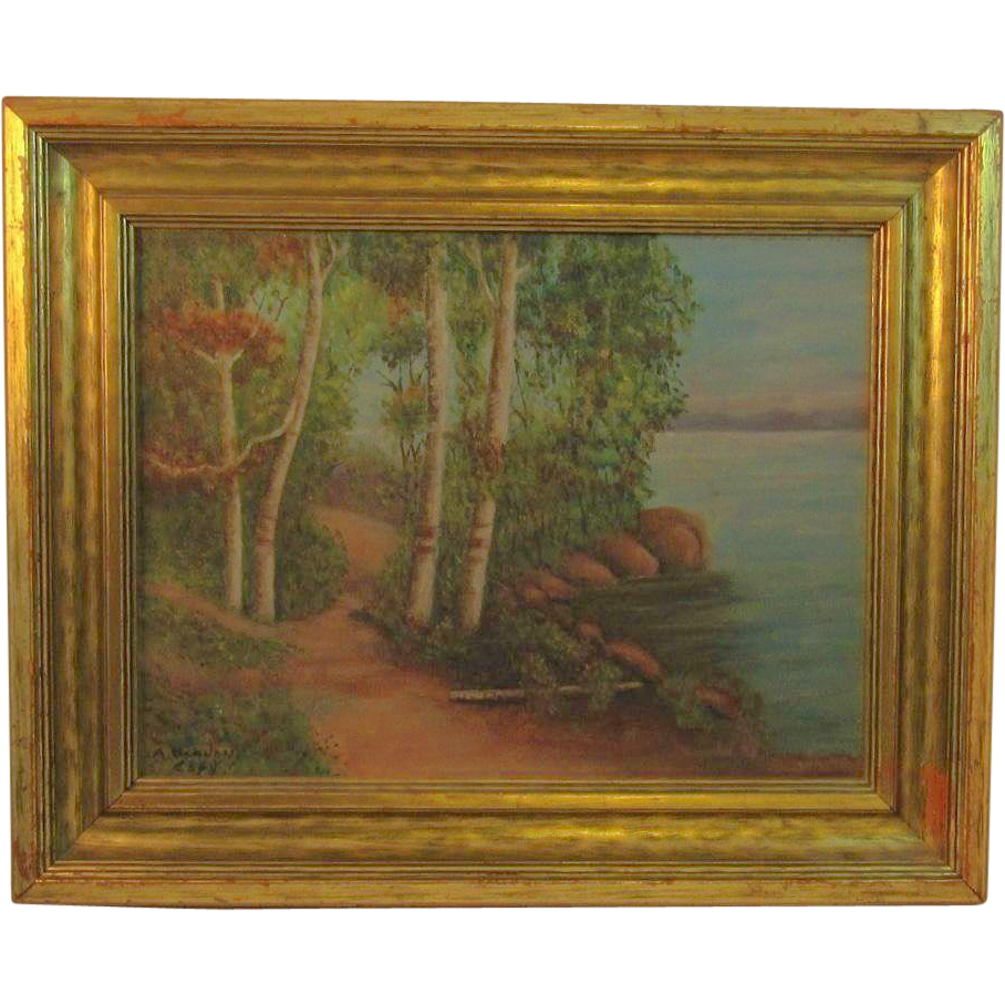 Local Artist A. Varnon Landscape Oil Painting