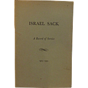 Israel Sack A Record of Service 1903 - 1953 Signed