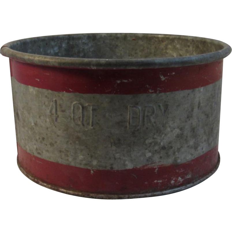Early 4 Quart Dry Measure Galvanized Steel and Original Red Paint