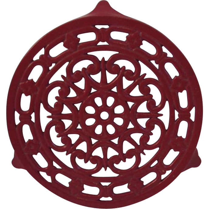 Vintage Red French Cast Iron Trivet Decotec