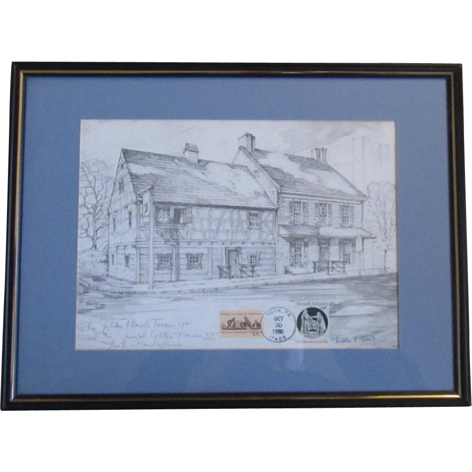 Charles H. Overly Print The Golden Plough Tavern 1741 and the General Gates House circa 1751 York Pennsylvania