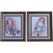 Pair of Raggedy Ann and Andy Framed Prints by Ava Freeman
