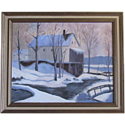 Winter Mill by Mary - Oil Painting on Canvas Board