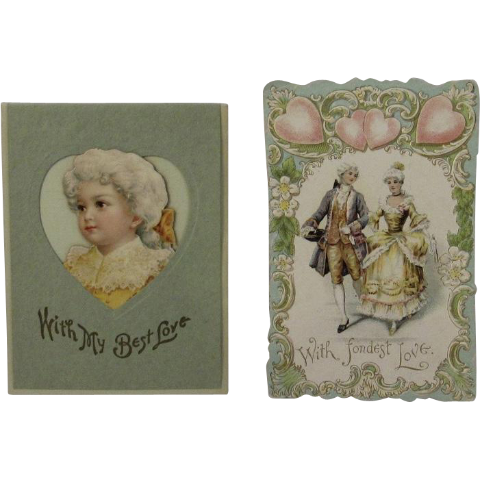 2 Edwardian Die Cut Valentines Love Cards