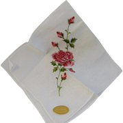 Vintage Swiss Embroidered Pink Rose Hankie Handkerchief Never Used!