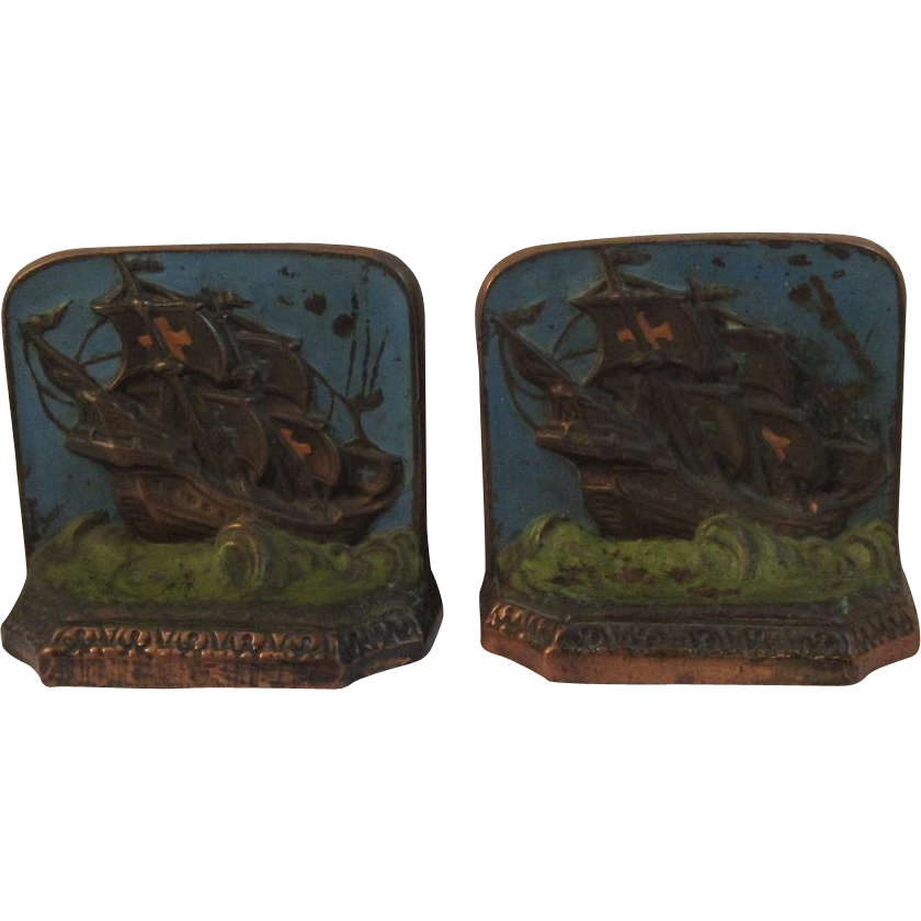 Tarrant Bronze Clad Ship Book Ends Nautical
