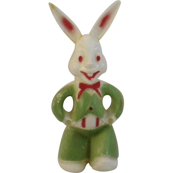 Vintage Hard Plastic Easter Bunny Lollipop Holder Candy Container
