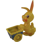 Vintage Hard Plastic Easter Bunny with Cart Candy Container
