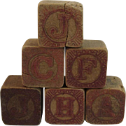 6 Victorian Alphabet Wood Blocks