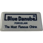 Vintage Blue Danube China Dealer Sign Advertising Porcelain Shelf Marker