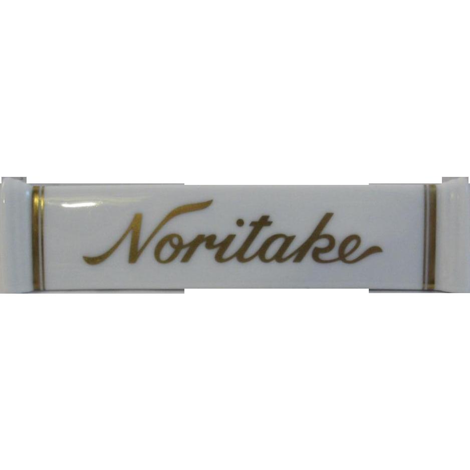 Vintage Noritake Dealer Sign Advertising Store Porcelain Shelf Marker