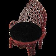 Folk Art Dollhouse Miniature Victorian Style Chair Tin Can Curling