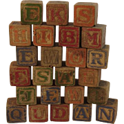 25 Vintage Alphabet Picture Character and Letter Wood Blocks