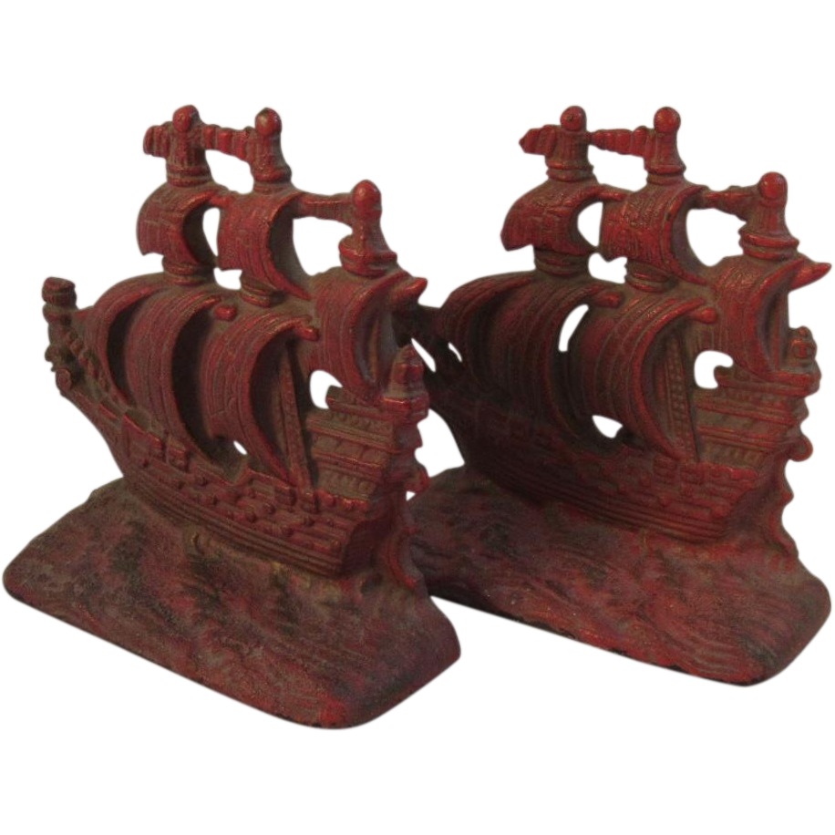 Cast Iron Spanish Galleon Ship Bookends with Original Red Paint