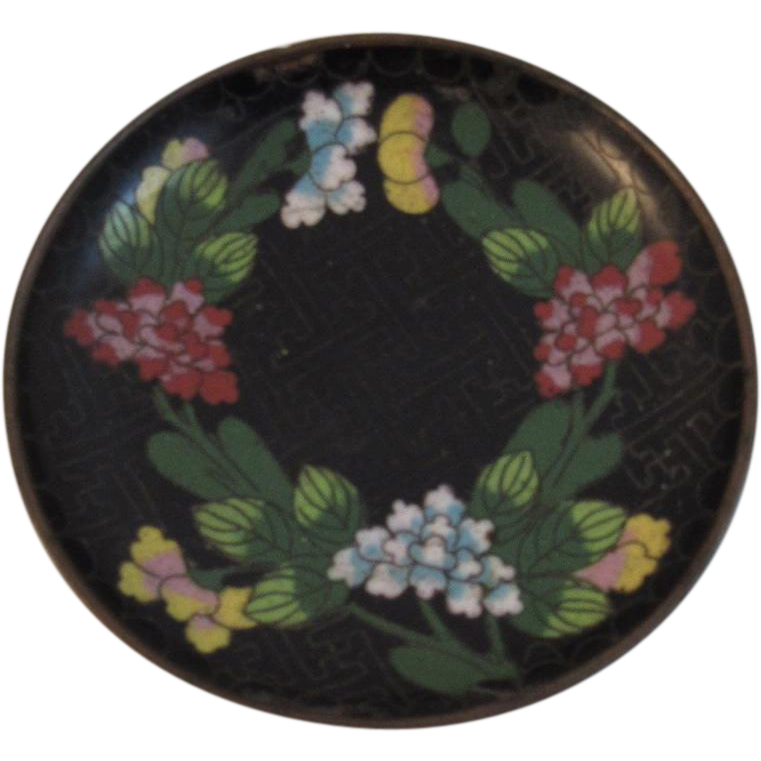 Small Cloisonné Floral Round Dish