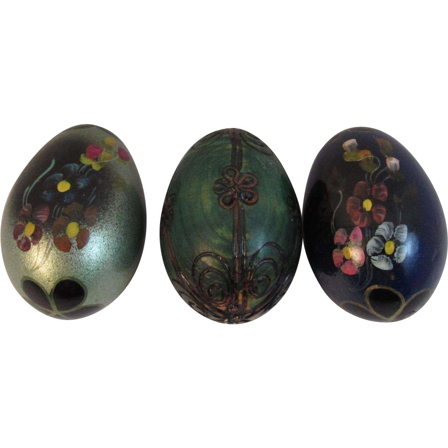 3 Vintage Hand Painted Wood Easter Eggs