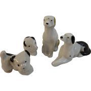4 Dollhouse Miniature Bisque Dog Figurines