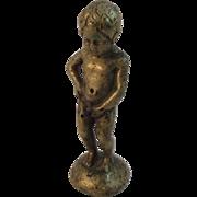 Miniature Brass Boy Peeing Figurine